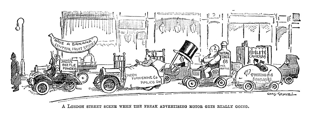A London street scene when the freak advertising motor gets really going.