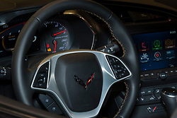 CHARLOTTE, NORTH CAROLINA - NOVEMBER 20, 2014: Chevrolet Corvette Stingray coupe on display during the 2014 Charlotte International Auto Show at the Charlotte Convention Center.