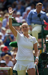 03.07.2014, All England Lawn Tennis Club, London, ENG, WTA Tour, Wimbledon, Tag 10, im Bild Petra Kvitova (CZE) celebrates after winning the Ladies' Singles Semi-Final match 7-6 (6), 6-1 on day ten // during day 10 of the Wimbledon Championships at the All England Lawn Tennis Club in London, Great Britain on 2014/07/03. EXPA Pictures © 2014, PhotoCredit: EXPA/ Propagandaphoto/ David Rawcliffe<br /> <br /> *****ATTENTION - OUT of ENG, GBR*****