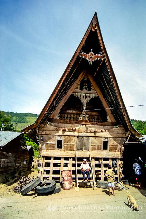 Indonesia, Sumatra. Samosir. A traditional Batak style building, not far from Simanindo.