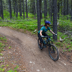 Erica riding 7-27 at Moose Mountain, Alberta Canada