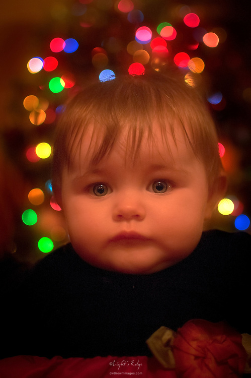 A child sits aglow in front of lights on a Christmas tree.