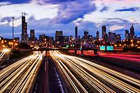 Chicago Skyline & Dan Ryan Expressway (Thunderstorm)
