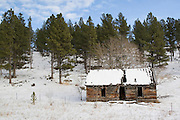Barn in the in the snow on a cattle ranch in Northeast Wyoming WY USA