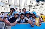 Argentina fans during the 2014 FIFA World Cup Final match at Maracana Stadium, Rio de Janeiro<br /> Picture by Andrew Tobin/Focus Images Ltd +44 7710 761829<br /> 13/07/2014