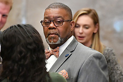 June 5, 2017 - St. Paul, Minnesota, USA - Clarence Castile, center, the uncle of Philando Castile, waited fir an elevator to the 8th floor courtroom.        ] GLEN STUBBE • glen.stubbe@startribune.com Monday June 5, 2017  Opening statements and possible testimony expected sometime after 1:30 p.m. today in the trial of Officer Jeronimo Yanez. (Credit Image: © Glen Stubbe/Minneapolis Star Tribune via ZUMA Wire)