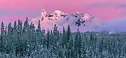 North America, United States, Oregon, Cascade Range, Three Sisters Wilderness, Broken Top Peak. Winter sunrise illumines 9,177 ft. Broken Top Peak.