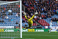 Huddersfield Town Goalkeeper Jed Steer is unable to stop George Thorne of Derby County (not in picture) scores his teams 2nd goal. Skybet football league Championship match, Huddersfield Town v Derby county at the John Smith's Stadium in Huddersfield , Yorkshire on Saturday 24th October 2015.<br /> pic by Chris Stading, Andrew Orchard sports photography.