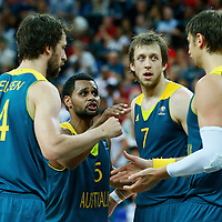 08 August 2012: Australia Matt Nielsen, Patrick Mills, Joe Ingles and David Andersen are seen during 119-86 Team USA victory over Team Australia, during the men's basketball quarter-finals, at the 02 Arena, in London, Great Britain.