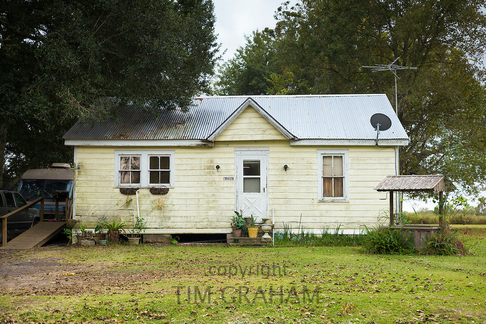 Typical Cajun style cottage house along the Mississippi in Louisiana, USA