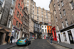 View of West Bow street at Grassmarket in Edinburgh Old town, Scotland, UK