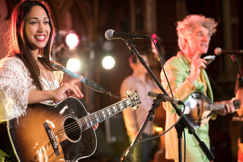 Sonia de los Santos and Dan Zanes perform at Old South Church for the Hubbub Festival.