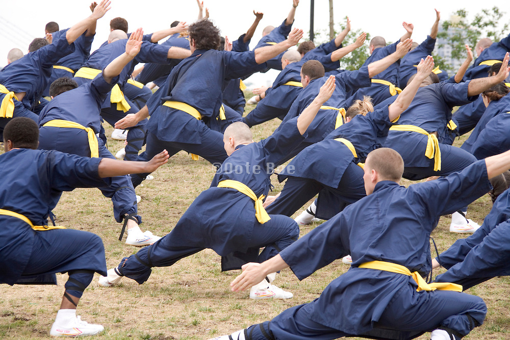 large group of people practicing martial arts