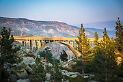Evening light on the historic Donner Summit Bridge, Truckee, California USA