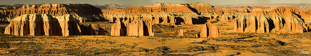 A winter setting sun illuminates the cliffs and monoliths of Upper Cathedral Valley in Capitol Reef National Park,Utah.  Panorama composed of 11 individual images.