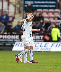Falkirk's Craig Sibbald at the end, towards the Dunfermline fans. Dunfermline 1 v 2 Falkirk, Scottish Championship game played 22/4/2017 at Dunfermline's home ground, East End Park.