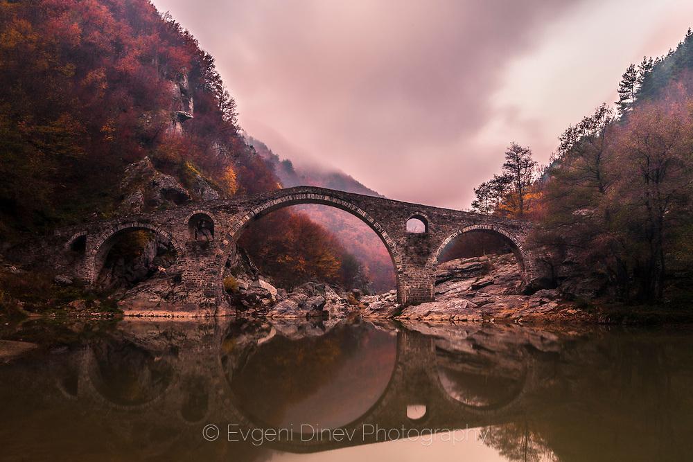 Ancient roman bridge on Arda river in Rhodope mountains