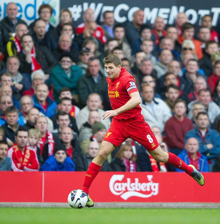 Liverpool's Steven Gerrard ..Football - Barclays Premiership - Liverpool v Stoke City - Sunday 7th October 2012 - Anfield - Liverpool..