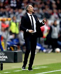 Eintracht Frankfurt's Manager Adi Hutter gestures on the touchline during the UEFA Europa League Semi final, first leg match at The Frankfurt Stadion, Frankfurt.