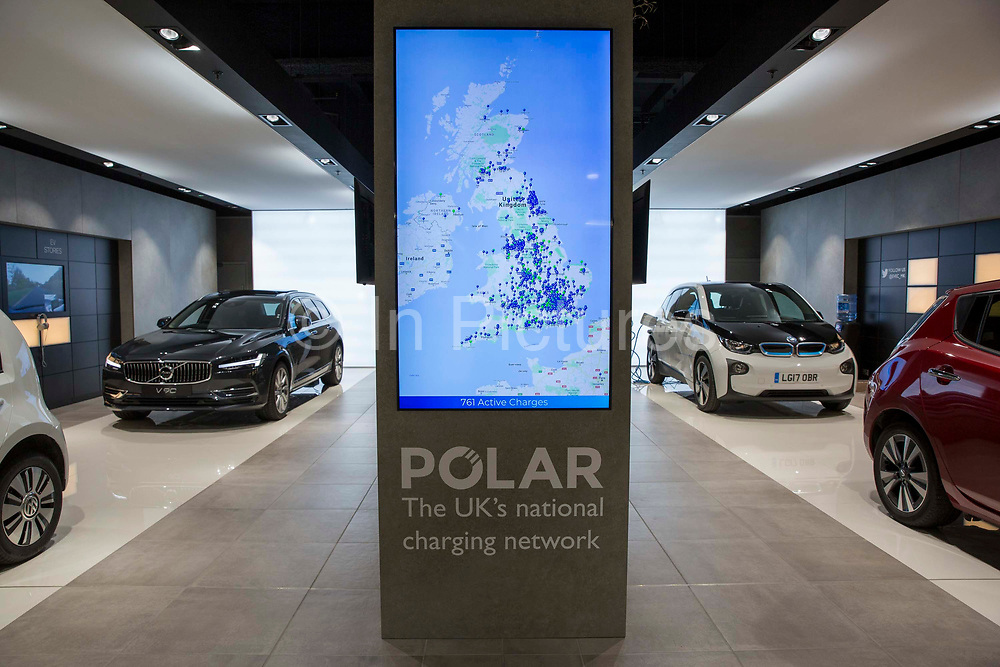 The Electric Vehicle Experience Centre inside a shopping centre on Crown Walk, Milton Keynes, United Kingdom. Chargemaster make and install the charging points in the UK through their POLAR Network, which gives access to over 6,000 charging points.