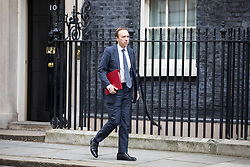 © Licensed to London News Pictures. 29/01/2018. London, UK. Secretary of State for Digital, Culture, Media and Sport Matt Hancock leaving Downing Street after attending a Brexit meeting this morning. Photo credit : Tom Nicholson/LNP