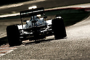 Lewis Hamilton heads into the early morning sunlight putting lap after lap in his Mercedes F1 car during Barcelona pre-season testing during February 2013. , F1 W04