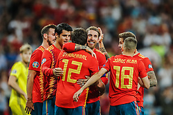 June 10, 2019 - Madrid, SPAIN - 190610 Jordi Alba and Sergio Ramos of Spain celebrate with teammates after 3-0 during the UEFA Euro Qualifier football match between Spain and Sweden on June 10, 2019 in Madrid  (Credit Image: © Andreas L Eriksson/Bildbyran via ZUMA Press)
