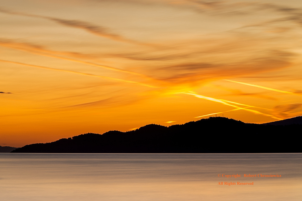 North Shore Sunset: A dynamic sunset over the North Shore Mountains, Vancouver British Columbia Canada.