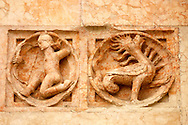 Detail of Baptistry carving  - Piazza Del Duomo - Parma Italy. .<br /> <br /> Visit our ITALY HISTORIC PLACES PHOTO COLLECTION for more   photos of Italy to download or buy as prints https://funkystock.photoshelter.com/gallery-collection/2b-Pictures-Images-of-Italy-Photos-of-Italian-Historic-Landmark-Sites/C0000qxA2zGFjd_k<br /> .<br /> <br /> Visit our MEDIEVAL PHOTO COLLECTIONS for more   photos  to download or buy as prints https://funkystock.photoshelter.com/gallery-collection/Medieval-Middle-Ages-Historic-Places-Arcaeological-Sites-Pictures-Images-of/C0000B5ZA54_WD0s