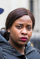 © Licensed to London News Pictures. 23/02/2018. London, UK. Takesha Thomas outside the High Court after judges ruled that doctors at King's College Hospital can withdraw life support for her 11-month-old son, Isaiah Haastrup, who has suffered severe brain damage. Photo credit: Rob Pinney/LNP
