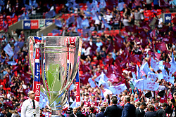 A large scale replica of the Sky Bet Championship Play-Off Trophy on display prior to the Sky Bet Championship Play-off final at Wembley Stadium, London.