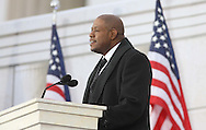 """Forest Whitaker reads a historic passage  at the """"We Are One""""  The Obama Inaugural Celebration at the Lincoln Memorial on January 18, 2009.   Photo by Dennis Brack"""