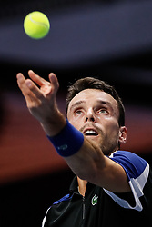 September 22, 2018 - Saint Petersburg, Russia - Roberto Bautista Agut of Spain serves the ball during his St. Petersburg Open 2018 semi final tennis match against Dominic Thiem of Austria on September 22, 2018 in Saint Petersburg, Russia. (Credit Image: © Mike Kireev/NurPhoto/ZUMA Press)