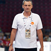 Montenegro's coach Dejan RADONNIC during their Istanbul CUP 2011match played Montenegro between Turkey at Abdi Ipekci Arena in Istanbul, Turkey on 25 August 2011. Photo by TURKPIX