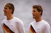 Bled, Slovenia, YUGOSLAVIA.  DDR M2-. Bow .Thomas JUNG and  Uwe KELLNER. 1989 World Rowing Championships, Lake Bled. [Mandatory Credit. Peter Spurrier/Intersport Images]