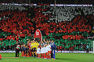 The teams line up before the match. Wales v Andorra, Euro 2016 qualifying match at the Cardiff city stadium  in Cardiff, South Wales  on Tuesday 13th October 2015. <br /> pic by  Andrew Orchard