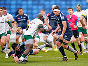 Sale Sharks flanker Cameron Neild holds London Irish Prop Lovejoy Chawatama as flanker Jono Ross prepares to complete the tackle during a Gallagher Premiership Round 14 Rugby Union match, Sunday, Mar 21, 2021, in Eccles, United Kingdom. (Steve Flynn/Image of Sport)
