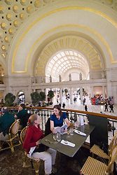 Washington DC; USA: Union Station, the rail terminal for Washington DC. Elegant vaulted ceiling of Grand Concourse.  Dining at Center Cafe..Photo copyright Lee Foster Photo # 25-washdc80147