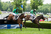 April 29, 2017, 22nd annual Queen's Cup Steeplechase. SARAH JOYCE and jockey Jack Doyle and INVOCATION lead over the final fence in the CHARLOTTE BUSINESS JOURNAL Handicap Hurdle