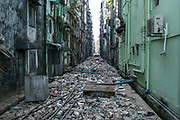 Garbage in back alleys of Yangon, Rangoon, Myanmar