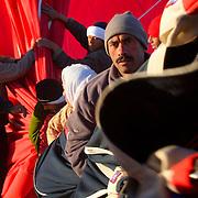 Team works hard to deflate hot air balloon, Luxor, Egypt (January 2008)