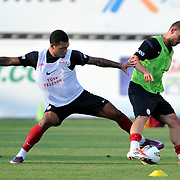 Galatasaray's players Colin Kazim RICHARDS (L) during their training session at the Jupp Derwall training center in Istanbul Turkey on Thursday,  August 20, 2011. Photo by TURKPIX