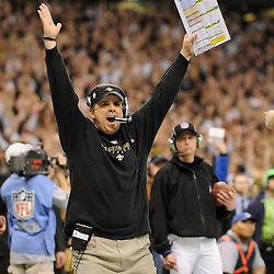 Jan 24, 2010; New Orleans, LA, USA; New Orleans Saints head coach Sean Payton celebrates a Reggie Bush (not pictured) touchdown against the Minnesota Vikings during the second half of the 2010 NFC Championship game at the Louisiana Superdome. Mandatory Credit: Derick E. Hingle-US PRESSWIRE