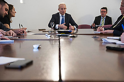 Pictured: David Lidington<br /> The Chancellor of the Duchy of Lancaster David Lidington was in Edinburgh for talks with Scottish business about the Brexit agreement.  After his meeting he met with the press to outline his virew of the agreement and how it will impact Scotland<br /> <br /> Ger Harley | EEm 16 November 2018