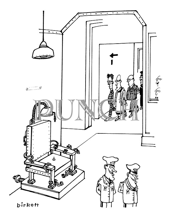(Prison guards leave a tack on an electric chair for a condemned man to sit on)