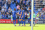 CELE Cardiff City forward Kieffer More (10) celebrates scoring the equalising goal with his team-mate during the EFL Sky Bet Championship match between Cardiff City and Bristol City at the Cardiff City Stadium, Cardiff, Wales on 28 August 2021.