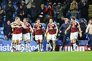 Ashley Barnes of Burnley (l) celebrates with his teammates after scoring his teams 3rd and winning goal. Premier League match, Burnley v Crystal Palace at Turf Moor in Burnley , Lancs on Saturday 5th November 2016.<br /> pic by Chris Stading, Andrew Orchard sports photography.