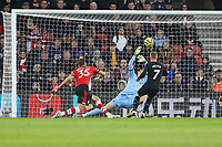 Football - 2019 / 2020 Premier League - Southampton vs. Crystal Palace<br /> <br /> Max Meyer of Crystal Palace fires past Southampton's Alex McCarthy only for his goal to be ruled out by a very tight VAR offside decision at St Mary's Stadium Southampton<br /> <br /> COLORSPORT/SHAUN BOGGUST
