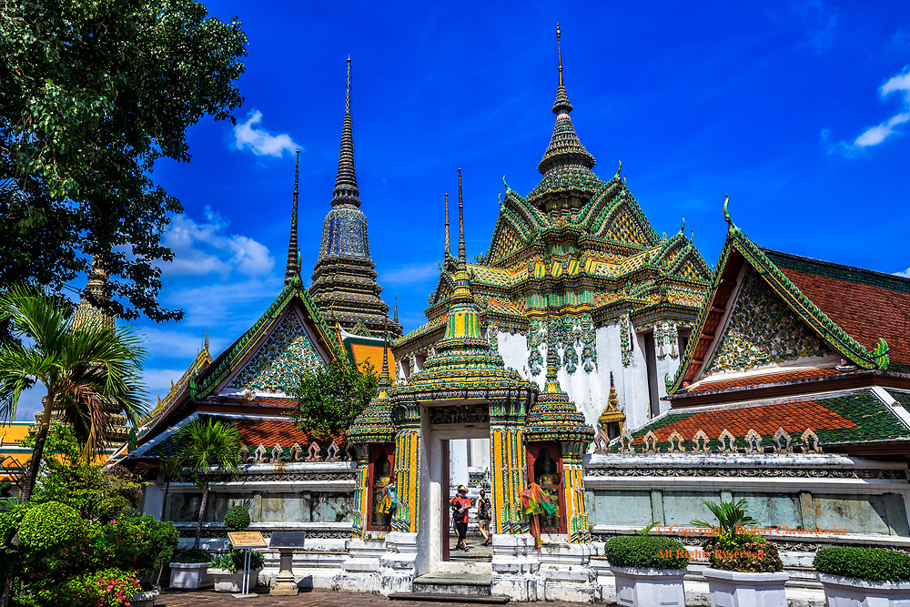 Wat Pho:  This is but a small aspect of Wat Pho, the oldest temple in Bangkok and it is also known also as the Temple of the Reclining Buddha, Bangkok Thailand.