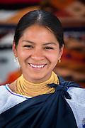 Portrait of a clothing seller, Otavalo Market , Ecuador, South America